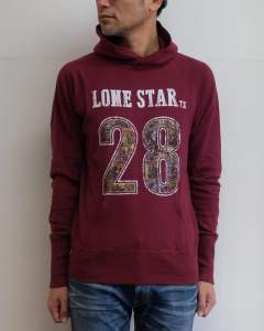 ガーゼミニ裏毛 プルオーバーパーカー「ロンスター」 (BURGUNDY) / GAZE MINI FRENCH TERRY PULLOVER PARKA(LONE STAR)TSWF1704