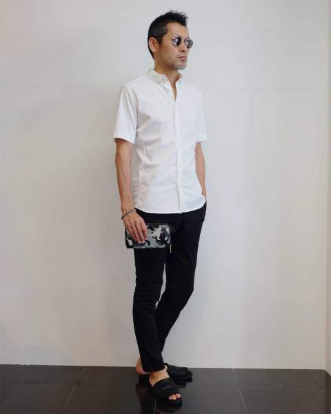 【junhashimoto】 LIGHT DENIM S/S SHIRTS スタイル